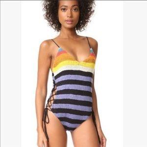 Mara Hoffman rainbow crochet lace up swimsuit
